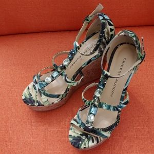 Chinese Laundry green tropical high wedge sandals
